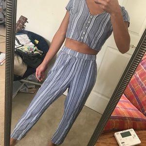 Pants - blue striped two piece set
